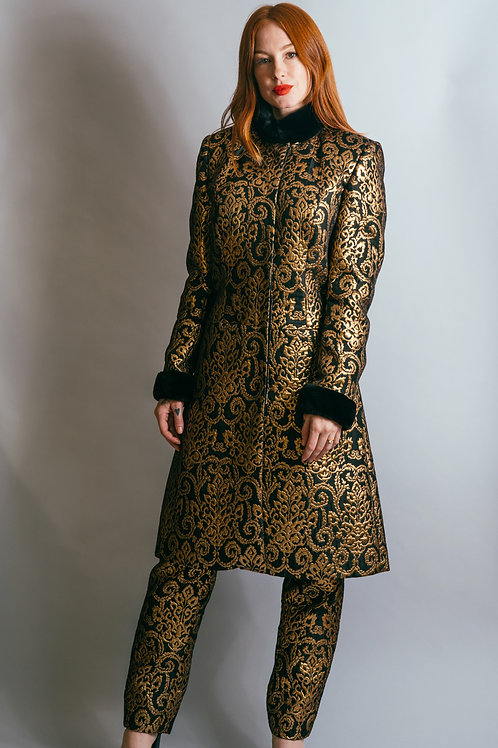 Gold Brocade Jacket and Pant Set