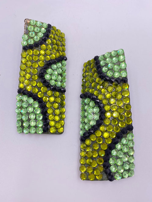 Camouflage Crystal Swirl Clip Earrings
