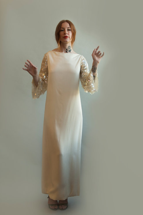 60's Saks Fifth Ave White Paillette Sleeve Dress