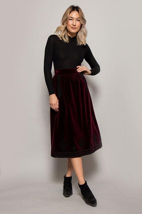 1970's Yves Saint Laurent Velvet Skirt W/Trim
