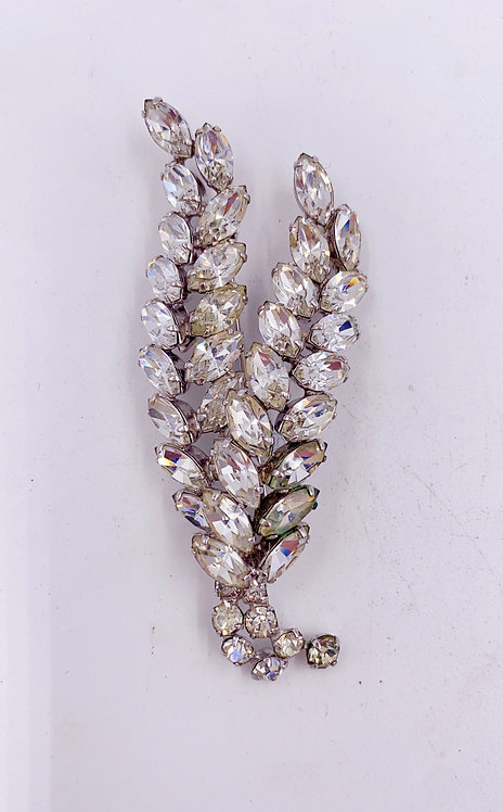 1950's Crystal Signed Brooch