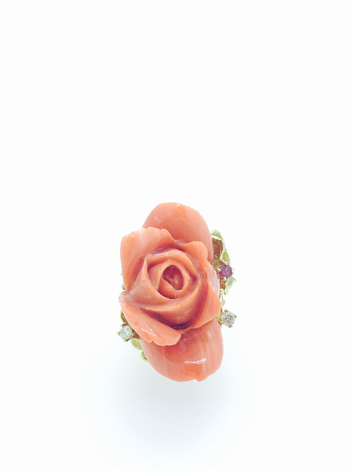 Natural Coral Carved Flower Ring