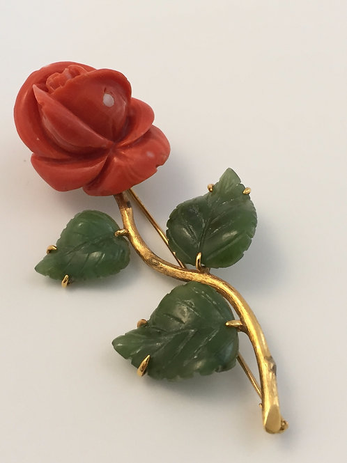 Vintage Salmon-colored Coral Brooch