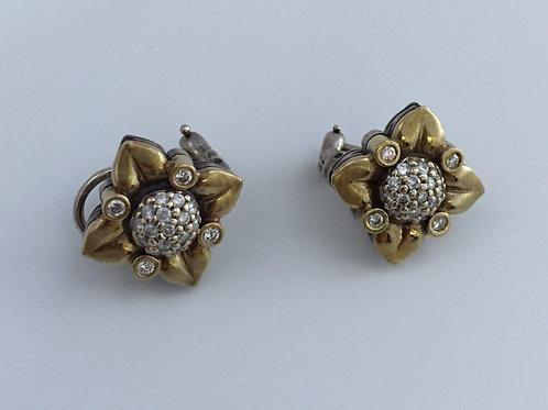 14K Yellow Gold & Silver Earrings