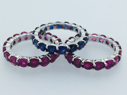 14K Gold Stackable Ruby and Sapphire Rings