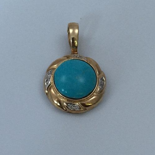 Gold Pendant/w Sleeping Beauty Turquoise & Diamond