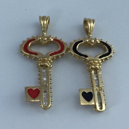 14K Yellow Gold Love Keys/w Diamonds