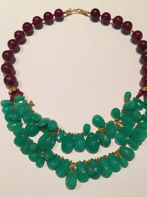Crystaphase and Cabouchon Rubies Necklace