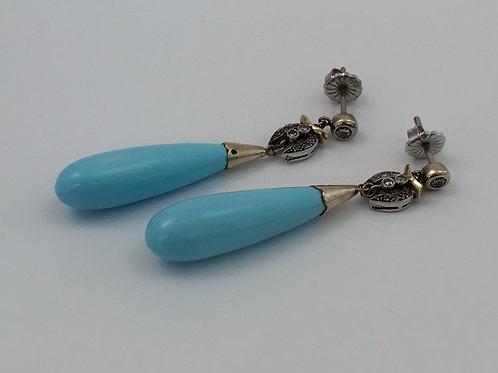 Vintage 14K Gold Earrings/w Turquoise Drops