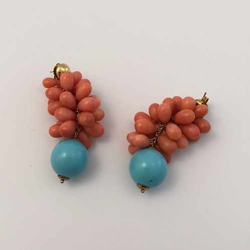 Vintage Salmon-colored Natural Drop Earrings