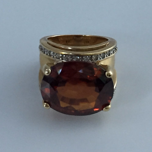 14K Yellow Gold and Diamonds and Large Stone Ring