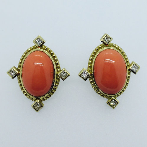 Vintage Salmon-colored Coral Earrings