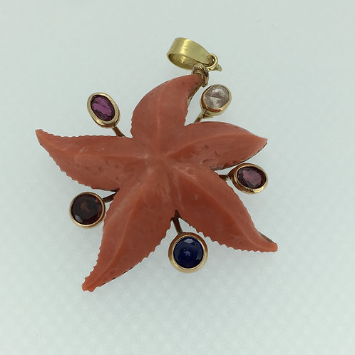Coral Pendant Starfish/w Ruby, Sapphire Tourmaline