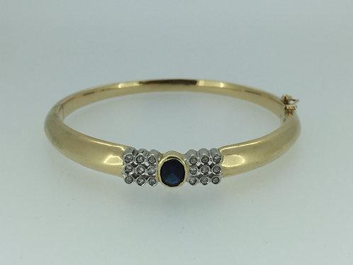 14K Bracelet/w Diamonds and Sapphire