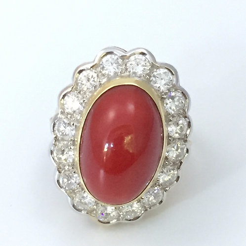 Ox Blood Red Oval Shaped Natural Coral Ring