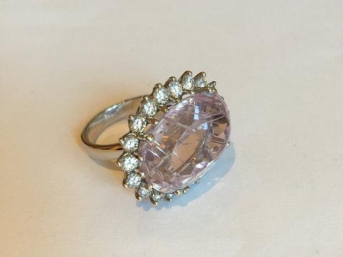 14K White Gold Ring/w Diamonds and Brilliant Stone
