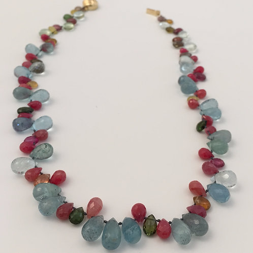 Aquamarine and Ruby Beads Necklace