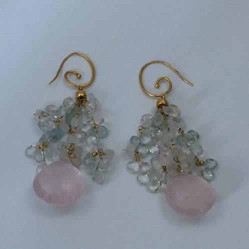 Yellow Gold Earrings/w Rose Quartz and Aquamarine