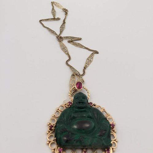 Vintage Buddha Necklace/w Serpentine Stone
