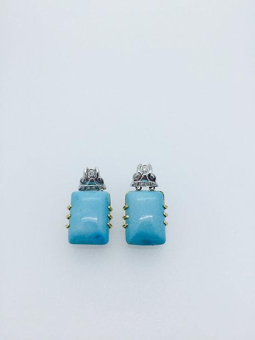 Turquoise Earrings-Yellow Gold, Platinum, Diamonds