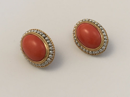 Vintage Salmon-colored Natural Coral Earrings