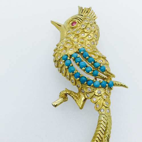 Vintage 18K Gold Brooch/w Diamonds and Turquoise