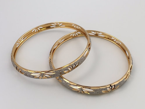 18K Yellow and White Gold Bangles
