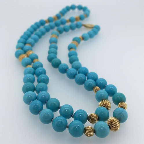 Vintage Persian Turquoise Beads Necklace