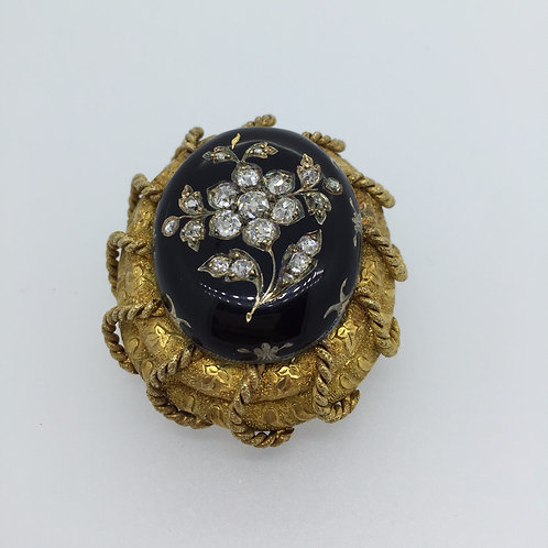 Vintage Yellow Gold, Black Enamel & Diamond Brooch
