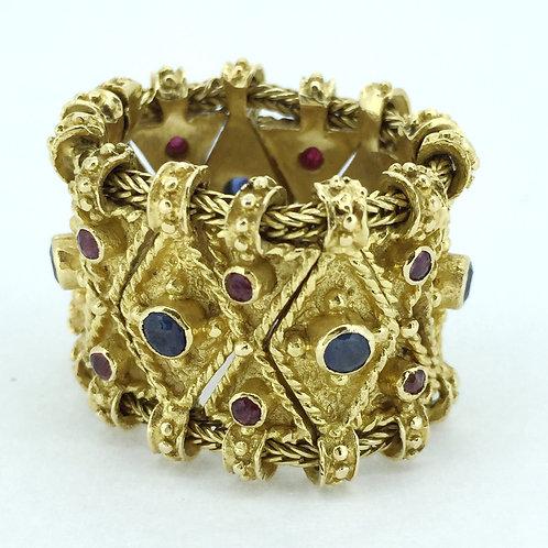 18K Vintage Gold Ring/w Rubies & Sapphires
