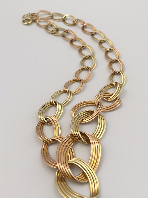 18K Yellow Gold Link Tri-colored Chain