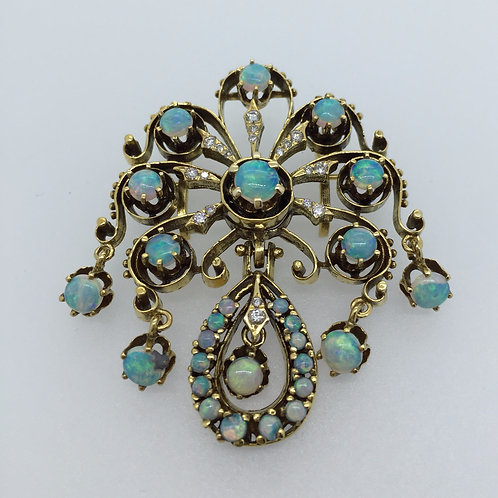 Natural Opal Vintage Brooch and Diamond