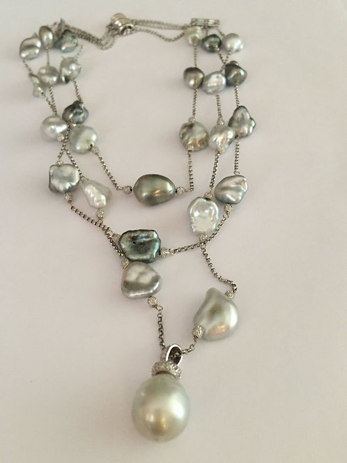 Tahitian Keshi Black and White Pearl Necklace