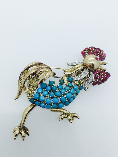 Vintage Gold Rooster Brooch/w Turquoise & Ruby