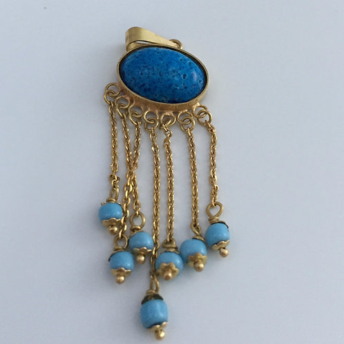 Pendant - Good Luck Blue Stone/w Turquoise Beads