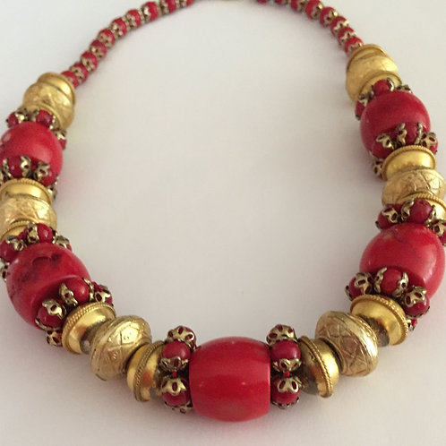 Natural Ox Blood Coral Necklace