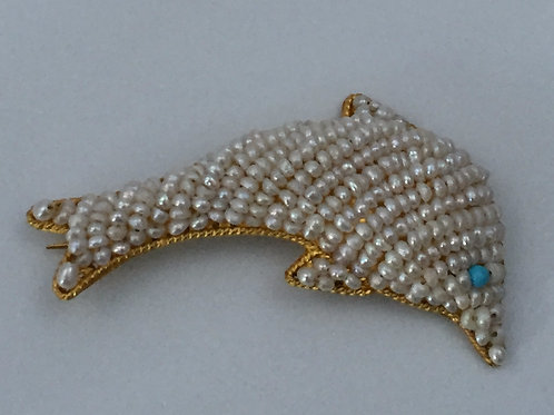 Gold Dolphin Brooch/w Seed Pearls & Turquoise
