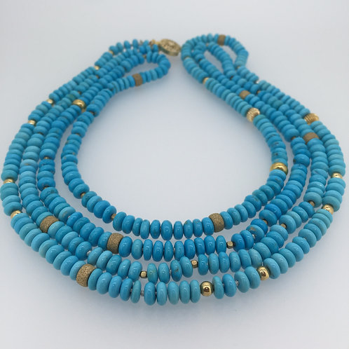 Very Long Sleeping Beauty Turquoise Necklace
