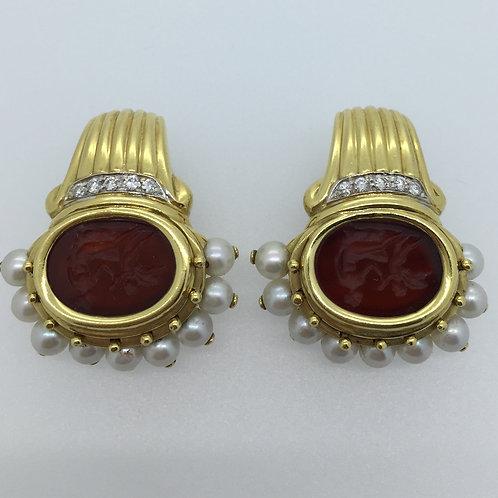 Vintage Gold Carnelian Earrings/w Pearl & Diamonds