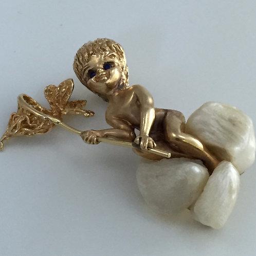 14K Gold Angel Figure Brooch