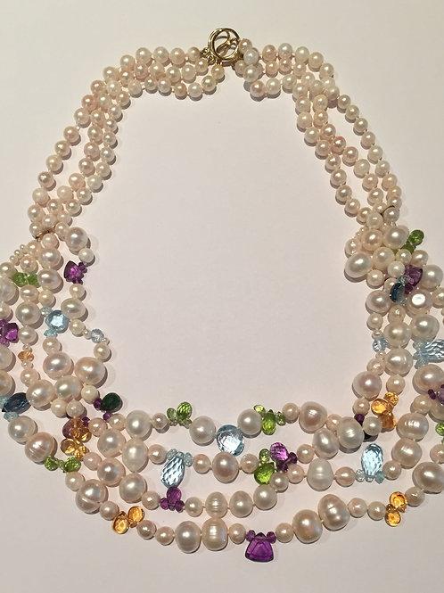 Multi-coloredWhite Freshwater PearlNecklace