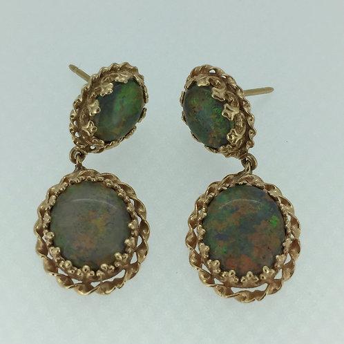 Vintage Opal Earrings/w 14K Yellow Gold