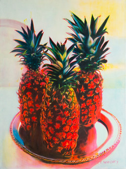 Pineapples on a Silver Plate