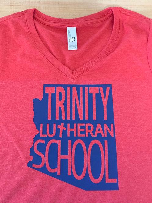 Trinity Ladies State Logo V-Neck Tee