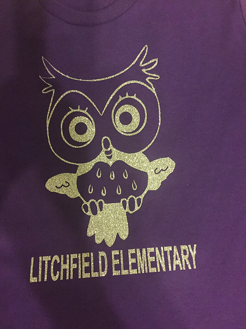 Litchfield Elementary Owl Youth Girls Logo'd Purple Shirt