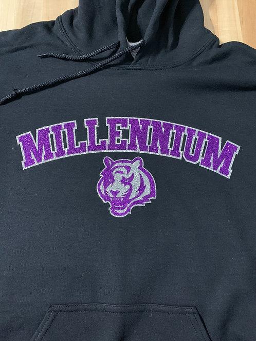 Millennium Glitter Logo'd Hooded Sweatshirt - Black