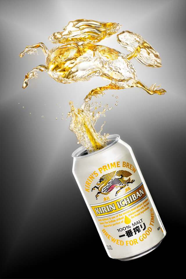 japanese kirin beer, creative product photography