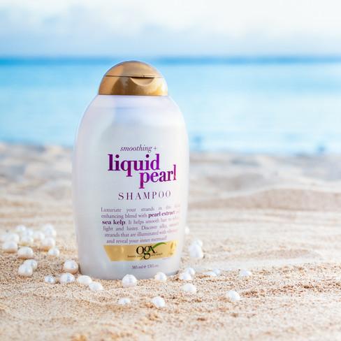 ogx liquid pearl shampoo, hawaii product advertising photography