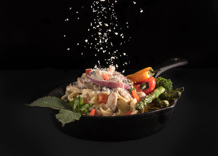 Tasty chicken pasta with side veggie, hawaii food & drink photography