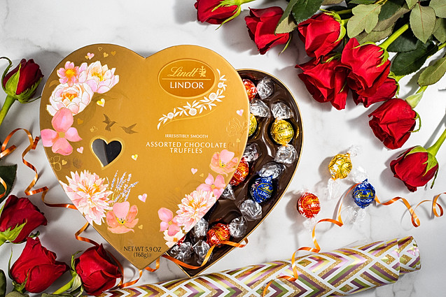 Lindor Assorted Chocolate Truffles with roses, Valentines Day